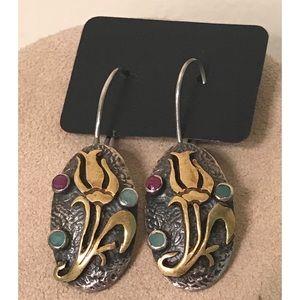 Hammered 925 Brass Tulip Gemstone Cab Earrings